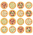 collection italian pizza icons vector image