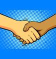 comics shake hands vector image