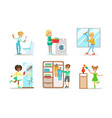 cute children doing housework set boys and girls vector image vector image