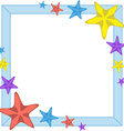 Decorative cyan frame with cartoon starfishes vector image vector image
