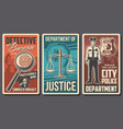 detective bureau justice and police department vector image vector image