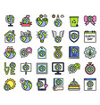 earth day related icon set 2 filled style vector image