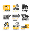 express delivery set for label design delivery vector image vector image