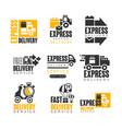 express delivery set for label design delivery vector image vector image