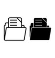 file folder line and glyph icon archive vector image vector image