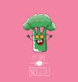funny cartoon cute green smiling broccoli vector image