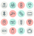 gadget icons set with tablet video camera flash vector image