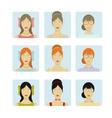 Girl faces icon set vector image vector image