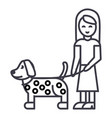 girl with dog line icon sign vector image vector image