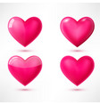 glossy hearts with shadows vector image vector image
