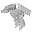 grey fantasy robot on white background vector image vector image