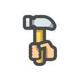 hammer in hand icon cartoon vector image