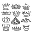 hand drawn crowns king queen doodle crown vector image