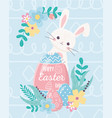 happy easter adorable rabbit with eggs flowers vector image