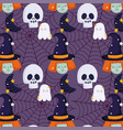 happy halloween witch skull ghost hat trick vector image vector image