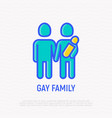 homosexual family with child thin line icon vector image vector image
