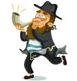 Jewish man with shofar vector image vector image