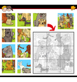 jigsaw puzzle game with dogs vector image vector image