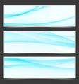 modern satin blue line flyers set vector image vector image
