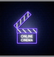 neon movie clapper sign online movie bright vector image vector image