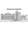netherlands amsterdam line skyline vector image