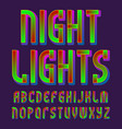 night lights alphabet glowing vibrant font vector image vector image