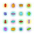 Package icons set comics style vector image vector image