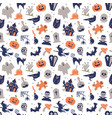 seamless pattern with traditional halloween vector image