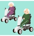 Senior Lady and Man on a Mobility Scooter Elderly vector image vector image