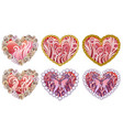 set of beautiful hearts with ornament of sea vector image vector image