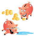 Set of emotions cartoons piggy bank and money vector image vector image