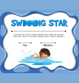 swimming star certification template with swimmer vector image vector image