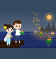 thai couple traditional dress floating flowers vector image vector image