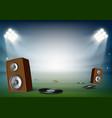vinyl and music speakers in stadium vector image vector image