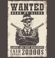 wanted vintage poster vector image