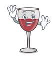 waving wine character cartoon style vector image