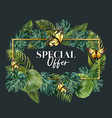 wreath design with tropical foliage green-toned vector image vector image