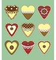 Set of vintage hearts with fabric texture vector image
