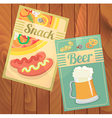Beer Snack Pizza and sausages vector image