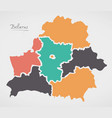belarus map with states and modern round shapes vector image