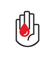 black line hand symbol holding red blood drop icon vector image vector image
