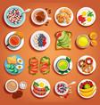 breakfast dishes orange set vector image