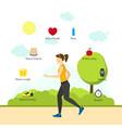 cartoon jogging girl infographics vector image vector image