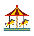 children carousel with colorful horses icon vector image