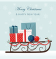 christmas sleigh filled with gift boxes vector image vector image