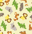 Cute wild animals seamless pattern vector image