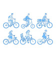 cyclist set active people riding bicycle adult vector image