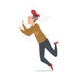 elderly stumbled man falling down retired male