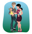 father mother son and daughter together vector image vector image
