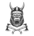 ferocious gorilla head in viking helmet vector image vector image